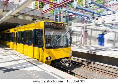 Yellow Blurred Motion Subway Waiting Commute Transportation European City Urban