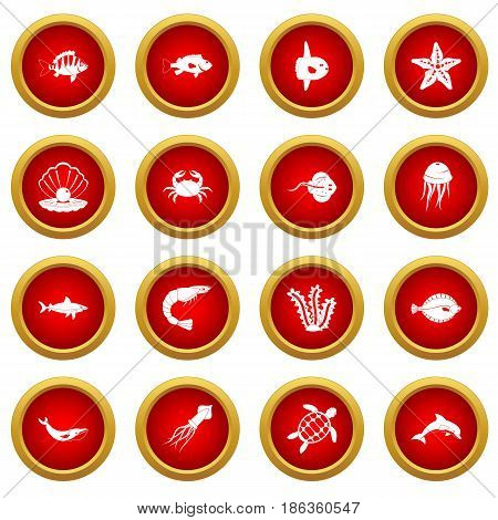 Sea animals icon red circle set isolated on white background