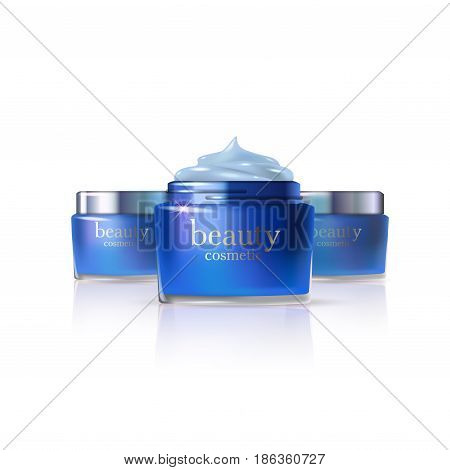 Beauty cosmetic product blue creame ads, package or liquid. 3D vector illustration on light background isolated. Stock vector.