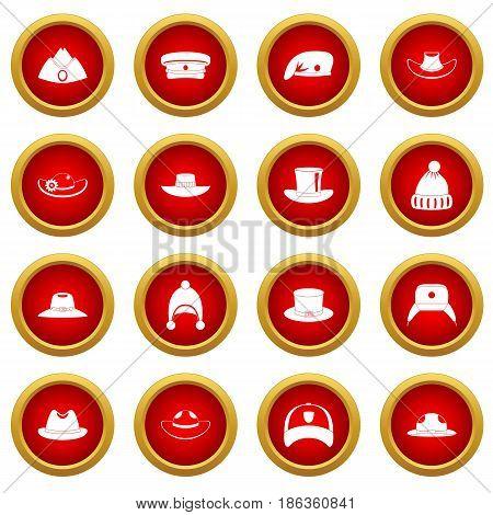 Headdress hat icon red circle set isolated on white background