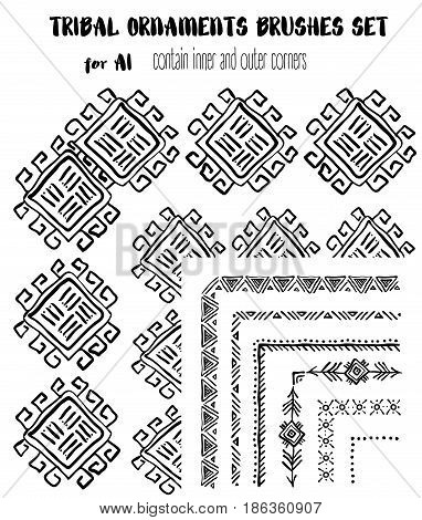 Hand-drawn tribal ethnic ornamental brushes set. Artistic vector collection of design elements tribal geometric ornament. Pattern brushes are included in EPS file