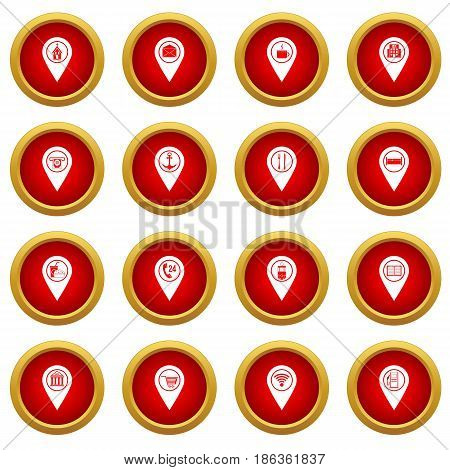Points of interest icon red circle set isolated on white background