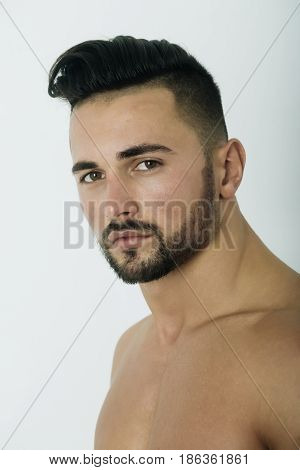 Handsome Sexy Man With Unshaven Face, Beard And Stylish Hair