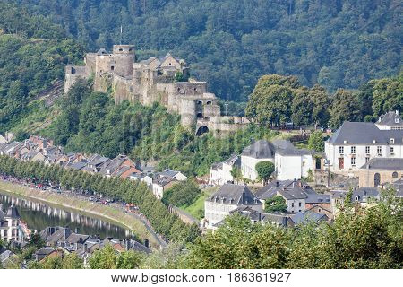Aerial view Bouillon with medieval castle along river Semois in Belgian Ardennes