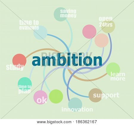 Text Ambitions. Business Concept . Infographic Template, Integrated Circles