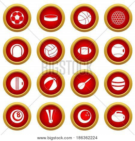 Sport balls icon red circle set isolated on white background