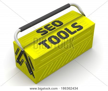 SEO tools. Closed yellow tool box on a white surface with text