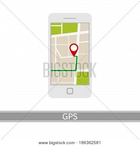 GPS navigator vector icon, flat style, isolated on white background. GPS navigation city map pin on mobile phone.