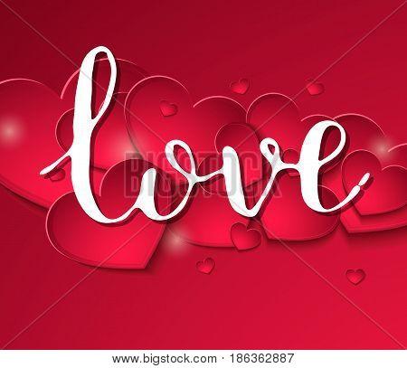 Handwritten Inscription Love Fine Feast On A Background Of Red Hearts