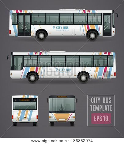 City bus grey template in realistic style with colored images from all sides isolated vector illustration