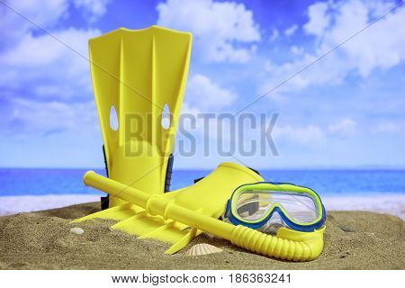 Summer Sandy Beach - Flippers And Mask