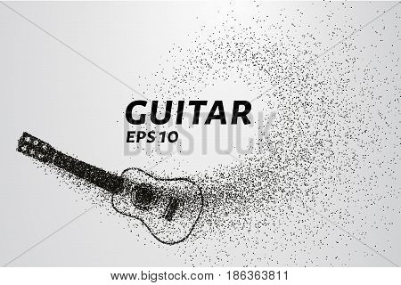 Guitar Of The Particles. The Guitar Is Composed Of Small Circles And Dots. Vector Illustration.
