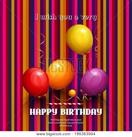Happy birthday card. Party colorful balloons and streamers on stripes background.