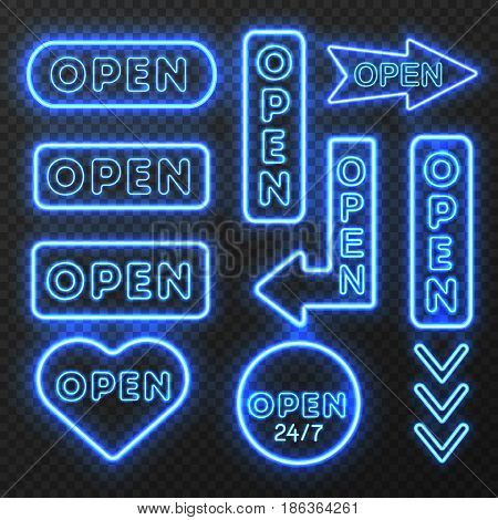 Neon open sign set with isolated images of blue electric light sign boards with arrow symbols vector illustration