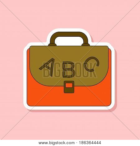paper sticker on stylish background of school bag backpack