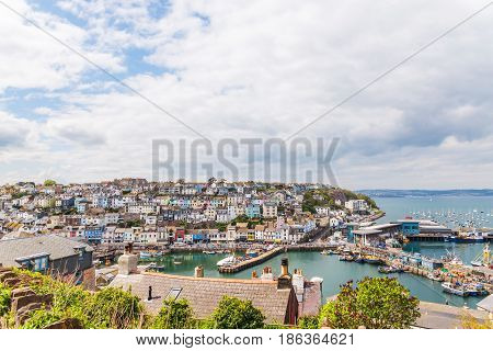 Roofs Of Buildings In Harbor, Seaside Spot Seen From The Bird's Eye View, Beautiful Typical English
