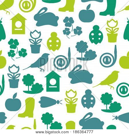 Vector seamless pattern of color spring symbols and garden tools