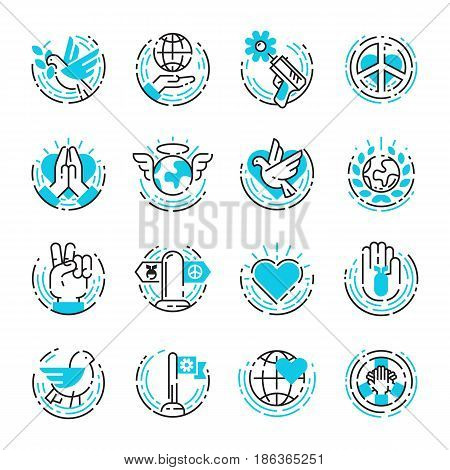 Peace outline blue thin line icons love world freedom international free care human hope symbols vector illustration. Cooperation flag happy together and no war direction arrow.