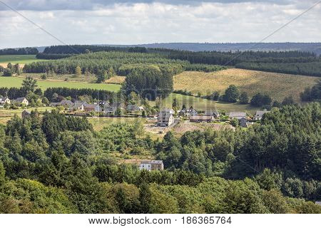Aerial view countryside near Bouillon in Belgian Ardennes