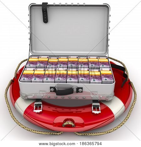 Financial security. Open suitcase filled with packs of European banknotes lying on the lifeline. The concept of financial security. Isolated. 3D Illustration