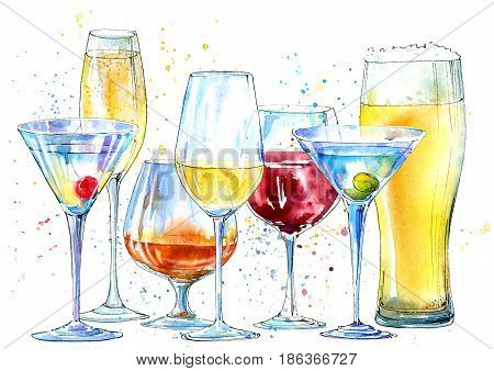 Glass of a champagne,martini, wine, beer, cognac. Picture of a alcoholic drink.Beverage border.Watercolor hand drawn illustration.