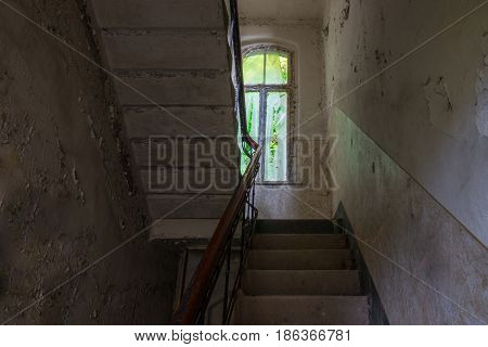 The Old Staircase In Abandoned Ruined Building, Lost Places