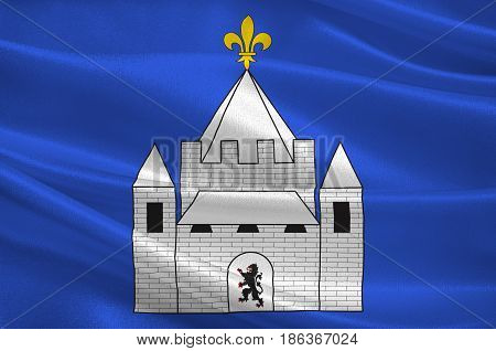 Flag of Provins is a commune in the Seine-et-Marne department in the Ile-de-France region in north-central France. 3d illustration