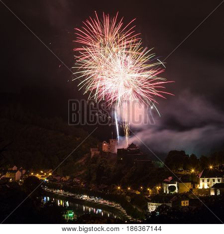 Fireworks show above the castle of Bouillon in Belgian Ardennes