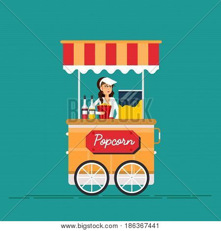 Detailed creative vector illustration on street food vending cart with popcorn machine and with seller. Young couple buy popcorn.
