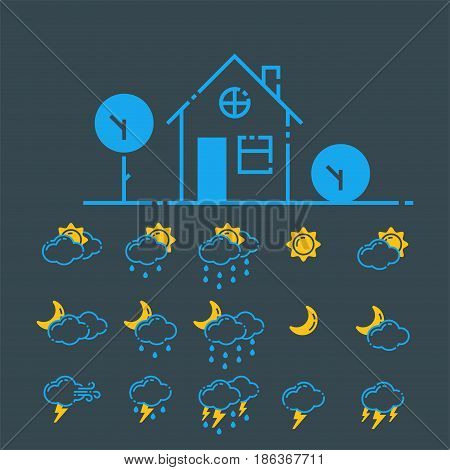 Set of weather icons vector illustration season thermometer outline design thunder temperature sign. Meteorology sky or sun nature element for web application.