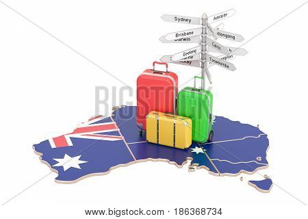 Australia travel concept. Australian flag on map with suitcases and signpost 3D rendering