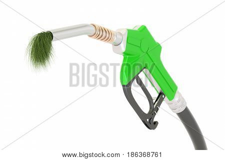 bio fuel concept gas pump nozzle with green grass 3D rendering isolated on white background