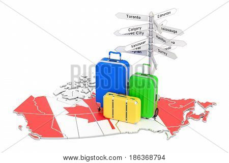 Canada travel concept. Canadian flag on map with suitcases and signpost 3D rendering