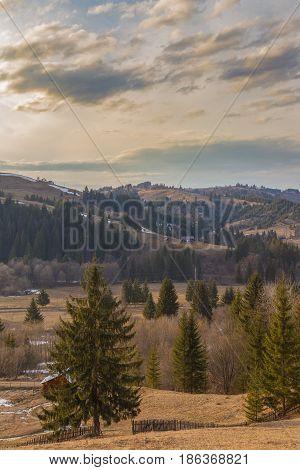 Sunset In Bucovina County In Romania.