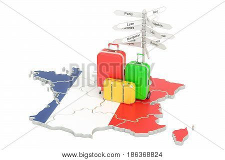 France travel concept. French flag on map with suitcases and signpost 3D rendering