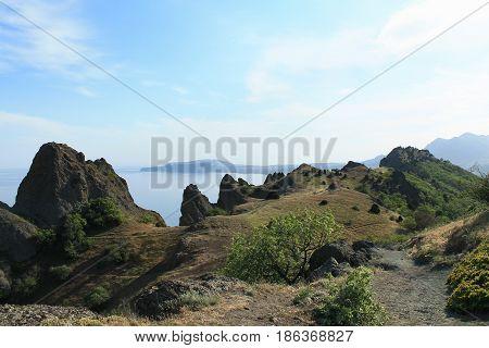 The extinct volcano Kara-Dag. Picturesque landscape. Crimea.