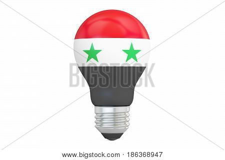 Light bulb with Syria flag 3D rendering isolated on white background