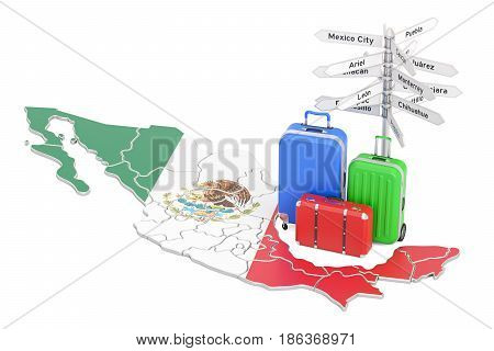 Mexico travel concept. Mexican flag on map with suitcases and signpost 3D rendering
