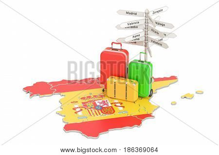 Spain travel concept. Spanish flag on map with suitcases and signpost 3D rendering