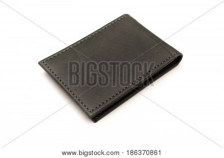 Business card holder isolated on white background. Gray leather wallet.