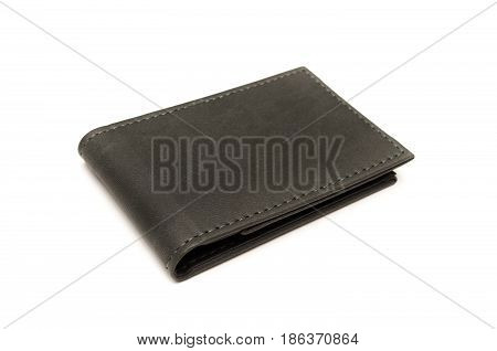 Gray wallet isolated on white background. Gray leather business card holder.