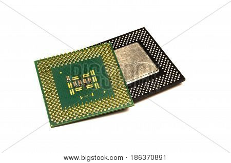 Processor chip. Computer component - cpu (central processing unit) isolated on white background.