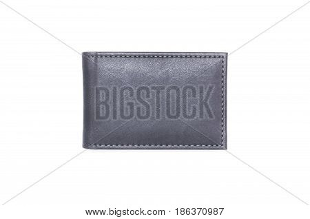 Wallet isolated on white background. Business card holder top view.