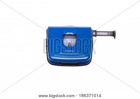 Hole puncher isolated on white background top view.