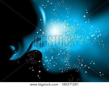 Abstract blue black space background with sparkle lights