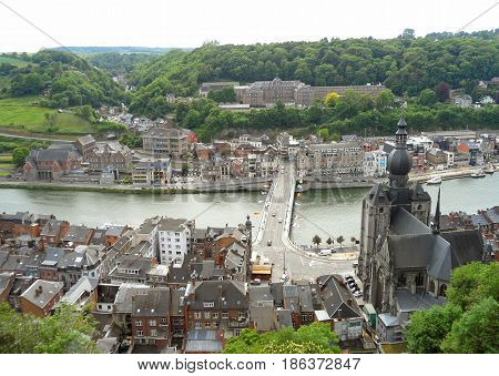 Stunning view of Dinant as seen from the Citadel of Dinant, Wallonia, Belgium
