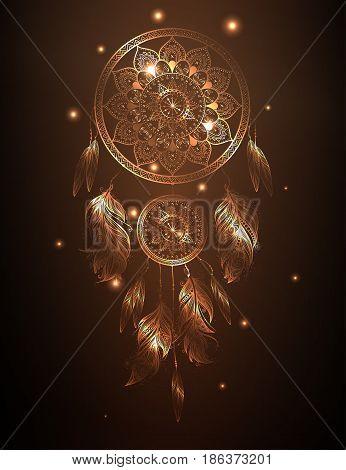 Dreamcatcher in golden or bronze gradient, vector illustration art