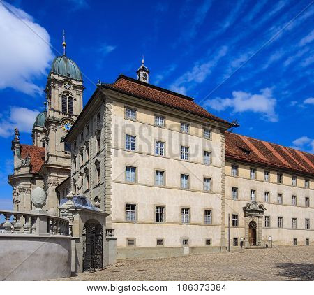 Partial view of the building of the Benedictine Abbey in the town of Einsiedeln in the Swiss canton of Schwyz.