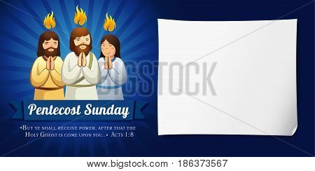 Pentecost sunday banner navy blue. Invitation template vector  in the service of Pentecost in the form of prayer people and text Pentecost Sunday
