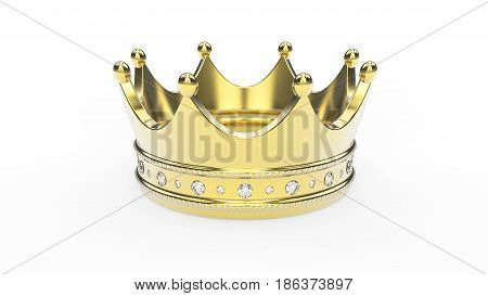 3D illustration gold crown tiara with diamonds on a white background